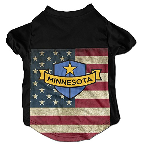 Minnesota Shield Costumes  Clothing  Shirt  Vest  T Shirt  Puppy Pet Dog Cat Fashion 100  Polyester Fiber Tee Gift For Any Animal Fan Lovers Black Large