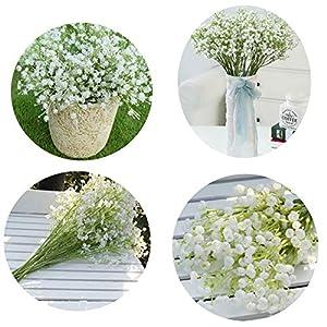 Elibone 12pcs Artificial Fake Silk Gypsophila Baby's Breath Flower Wedding Bouquet Decor Home vase Decorative Flowers 40cm 117