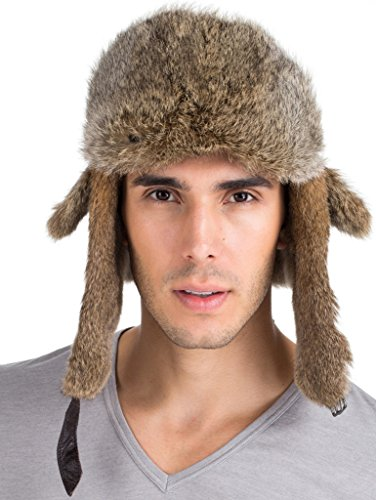 (vogueearth Mens Real Rabbit Fur Sheep Leather Warmer Hat Nature Brown)