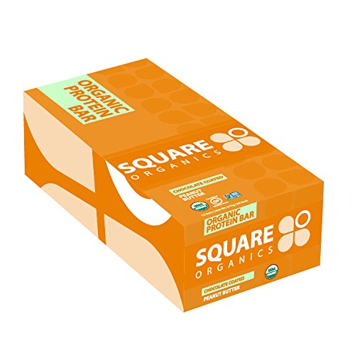 Square Organics Organic Chocolate Coated Protein Bar, Peanut Butter, 20.3 Ounce