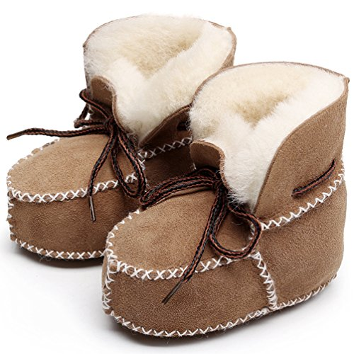 HONGTEYA Winter Baby Snow Boots Infants Warm Shoes Fur Wool Girls Baby Booties Sheepskin Genuine Leather Boy Boots (15cm, Brown) (Sheepskin Baby Booties)
