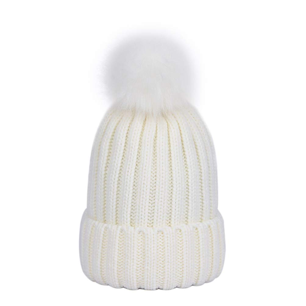 Lau's Boys Pom Pom Hat Kids Warm Knitted Winter Beanie Hats for Girls Grey Lau' s