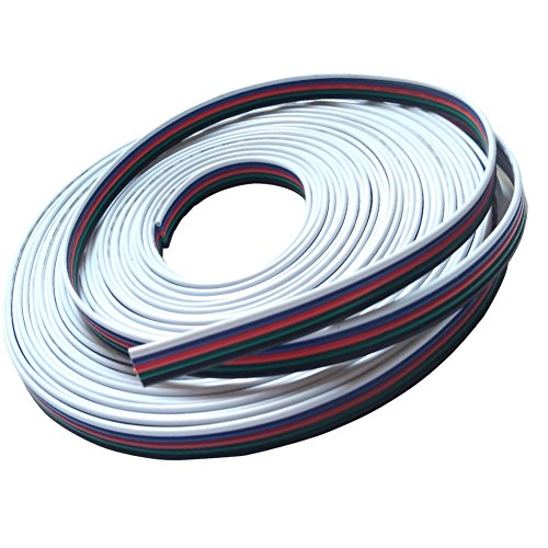 Alightings RGBW Extension Cable, 22awg 5 Conductor Wire for RGBW Color Changing LED Strip Lights, 32 feet