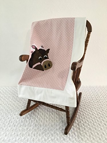 Small Pink and White Horse Applique Blanket