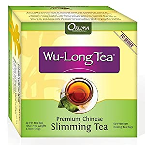 Premium Chinese Slimming WuLong Tea - All-natural weight loss, diet, detox and anti-acne oolong tea - Pure WuYi Oolong - 1 month supply with 60 tea bags