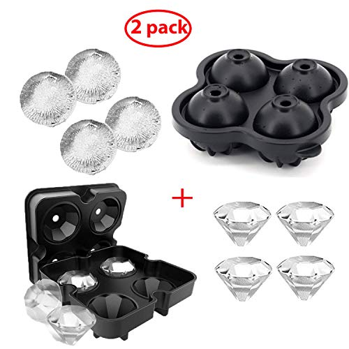 Diamond Ice Tray Round Ball Molds Maker for Drinks Whiskey Cocktails Beverage Beer Juice with 4 Large Diamond Ice and 4 Big Sphere Ice,Silicone BPA Free, Easy Release - 2 Sets