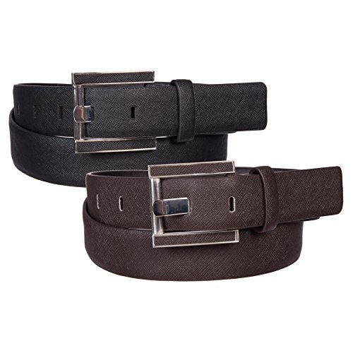Price comparison product image Sunny Belt Women's 2 Pack Faux Leather Belts with Metal Buckles (Black / Brown,  L)