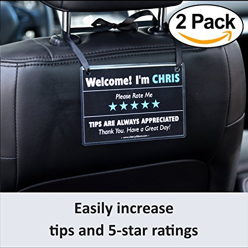 UBER Tips & Ratings Sign, PERSONALIZED Removable Placard Decals Headrest Display Cards, Increase Tips & 5 Star Ratings --- Perfect Accessory for Rideshare Drivers (2 Pack)