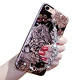 Bling Flash Flower Case For Iphone 7 PLUS, Girlyard Luxury Strass Diamond Flexible Back Case Cover Shining Glitters Soft Bumper Floral Pattern Case Cover with Rhinestone Bracelet Chain
