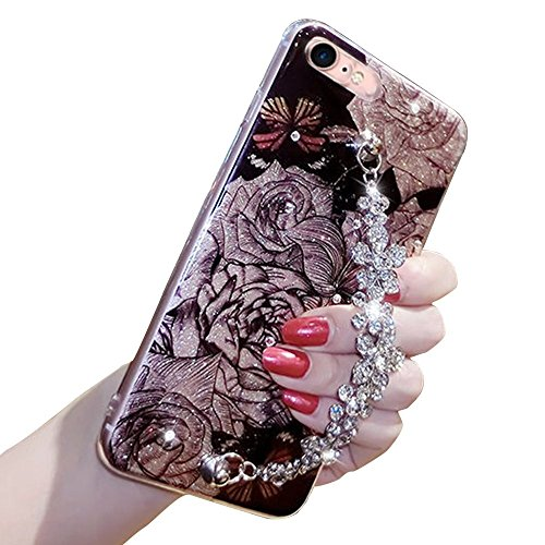 Flower Cell Phone (Bling Flash Flower Case For Iphone 6 6S, Girlyard Luxury Strass Diamond Flexible Back Case Cover Shining Glitters Soft Bumper Floral Pattern Case Cover with Rhinestone Bracelet Chain)