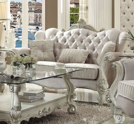 Acme Furniture 52106 Versailles Loveseat with 3 Pillows Ivory Velvet Fabric Upholstery Crystal Like Button Tufted Back and Nail Head Trim in Bone