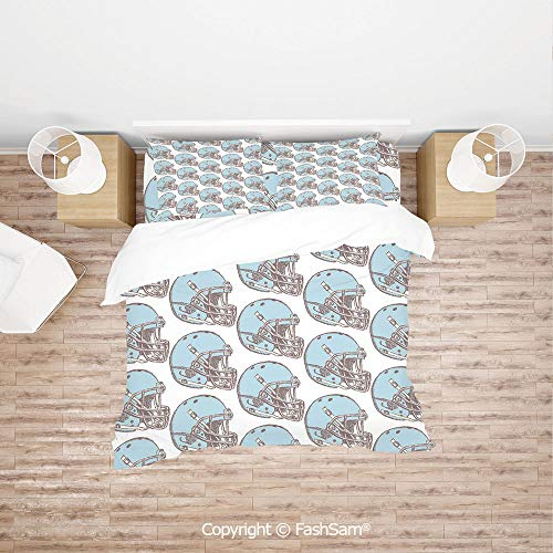 FashSam 4 Piece Bedding Sets Breathable Sketch Art Style Rugby Helmets Vintage Pattern American Athletics Decorative for Home(Single)