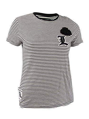 LAUREN RALPH LAUREN Womens Shannen Striped Patch T-Shirt
