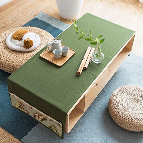 Vert 70cm×160cm YJWOZ Coton et Lin Multi-Fonctions Nappe de Table Basse de Couleur Unie Nappe rectangulaire de Maison Anti-poussière Nappe de Table (Couleur   Vert, Taille   70cm×160cm)