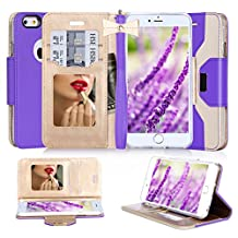 iPhone SE Case, iPhone 5S Case, iPhone 5 Case, FYY Premium PU Leather Wallet Case with Cosmetic Mirror and Bow-knot Strap for Apple iPhone SE/5S/5 Purple + Gold