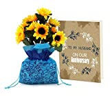 TiedRibbons Sunflower Bunch with Sack and Greeting card | Wedding Anniversary gift for Husband | Anniversary gift for Him | Anniversary gift for Her | Marriage Anniversary gift for Wifey