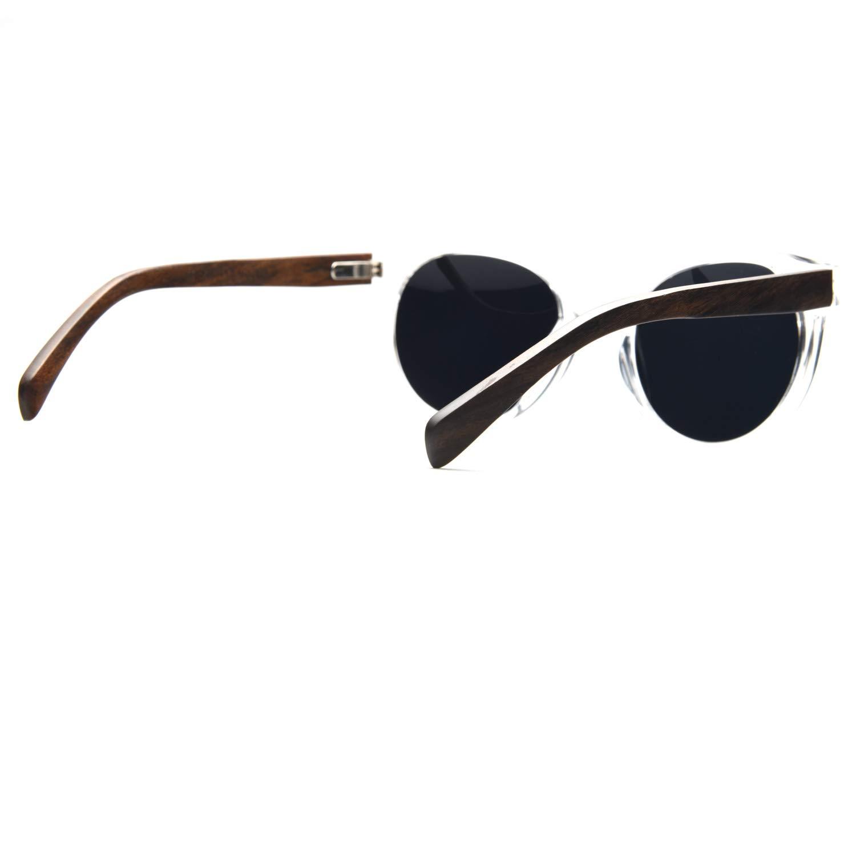 Ablibi Oversize Polarized Wood Sunglasses Retro Cat Eye Wood Sunglass (Walnut, Grey)