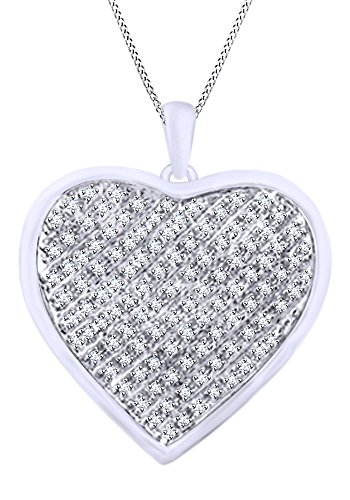0.11 CT Round Cut White Natural Diamond Heart Pendant Necklace In 14k White Gold Over Sterling Silver - 0.11 Ct Diamond Pendant