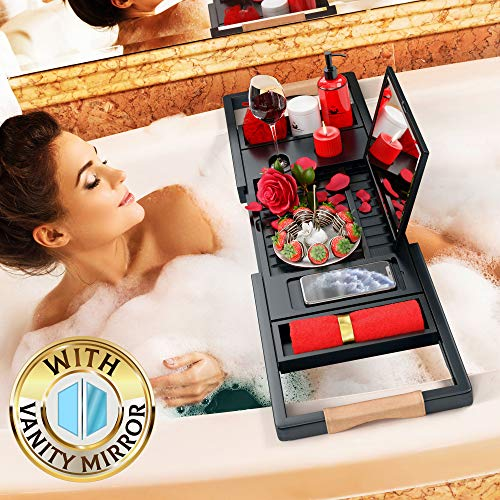 Your Majesty Premium Black Bamboo Bathtub Caddy Tray [with Mirror] 1-2 Adults Expandable Bath Tray, Beautiful Gift Box, Fits Any Tub - Holds Book, Wine, Phone, Ipad, Laptop - Bathroom Door Hanger from Your Majesty