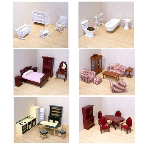 Melissa & Doug Deluxe Doll-House Furniture Bundle - Living Room Set, Kitchen, Bedroom, Bathroom, Nursery, and Dining - Dollhouse Furniture Deluxe