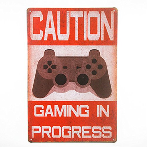 DL-shabby chic Funny Caution Gaming In Progress metal tin sign poster wall plaque