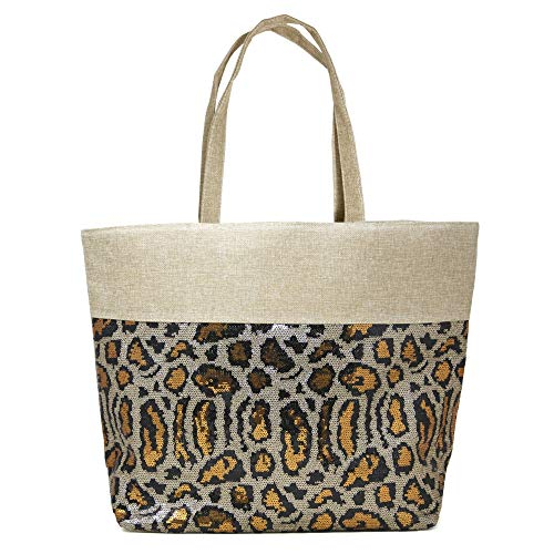 by you Sequin Animal Printed Large Tote Shoulder Beach Bag with Zipper Closure Top Handle (Sequin Animal Print - Brown)