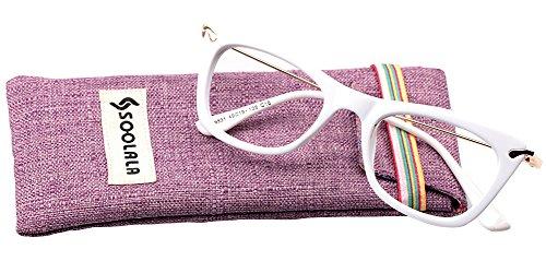 SOOLALA Womens Fashion Designer Cat Eye Eyeglasses Frames with Metal Arms, - Eyeglass Arms