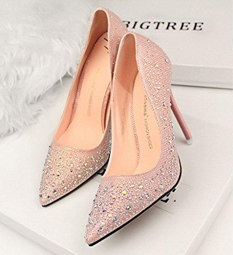Scarpe Toe Col Shoes Scarpe Stiletto Tacco Minetom Con Tacco Sposa Rosa Donna Da Strass Lucide Scarpe Scarpe Pointed 0wqxRx8F