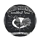 Polyester Round Tablecloth,Kitchen Decor,Chalkboard Kitchenware Menu Art Morning Rooster Retro Style Cafe Home Design Utensils,Black White,Dining Room Kitchen Picnic Table Cloth Cover,for Outdoor Ind