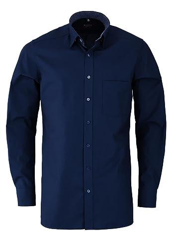 ETERNA Modern Fit Hemd Langarm Under Button Down Kragen Chambray blau