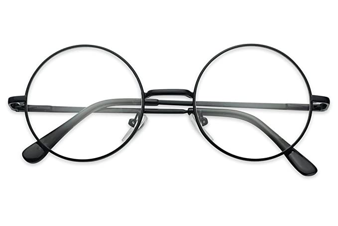 8e1687713b6d Sunglass Stop - Small Round Vintage Metal John Lennon Clear Lens Eye Glasses  (Black