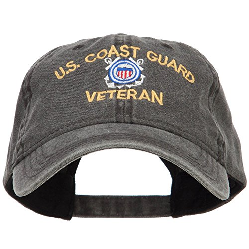 US Coast Guard Veteran Embroidered Washed Cap - Black OSFM