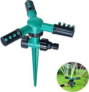 Blisstime Lawn Sprinkler, Automatic 360 Rotating Garden Water Sprinklers Lawn Adjustable 3 Arms Sprayer Irrigation System, Leak-Proof Design and Spike Base