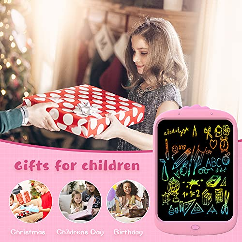 LEQUEEN Colourful LCD Writing Tablet,10 inch Doodle & Scribble Board Graphic Tablet Lock-Key Handwriting Drawing Pad Kids Toys Gifts for 3-6 Y Boys Girls (Pink)