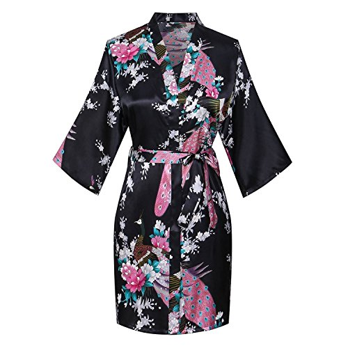 Blossom Peacock - Kasiria Women's Kimono Robes Peacock and Blossoms Short Style Silk Nightwear Black