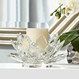 9.25'' Wide Clear Crystal Lotus Candle Holder