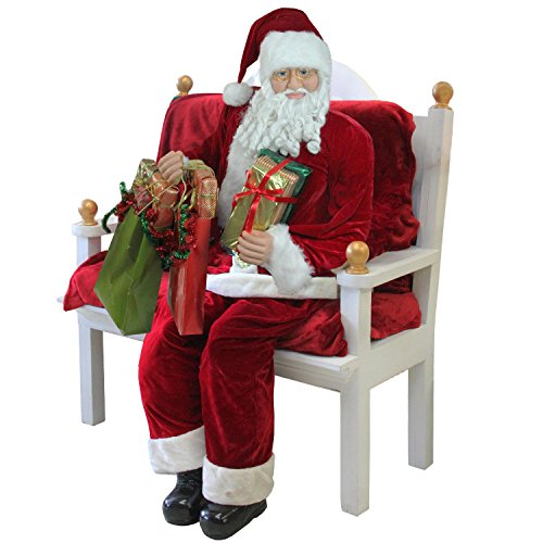 Northlight 31451214 Huge Life-Size Decorative Plush Christmas Santa Claus Figure (Sitting or Standing) with Presents, 6' (Plush Figure Santa)