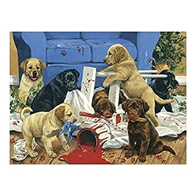 The Art of Linda Picken 550 Piece Puzzle - The Redecorators Labrador Retriever Puppies by Karmin International: Toys & Games