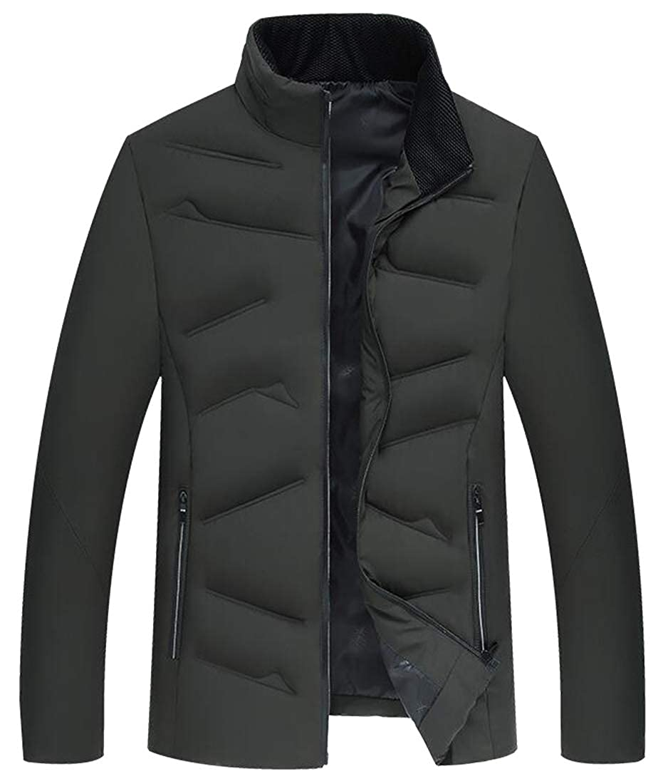 Bloomyma Mens Thicken Stand Collar Solid Color Warm Cotton Lined Winter Down Quilted Jacket Coat Outerwear