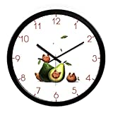 Jedfild The lovely cartoon wall clock children's room nursery living room modern creative round large Quartz watches, 12-inch (30.5 cm) in diameter, the black-black metal box