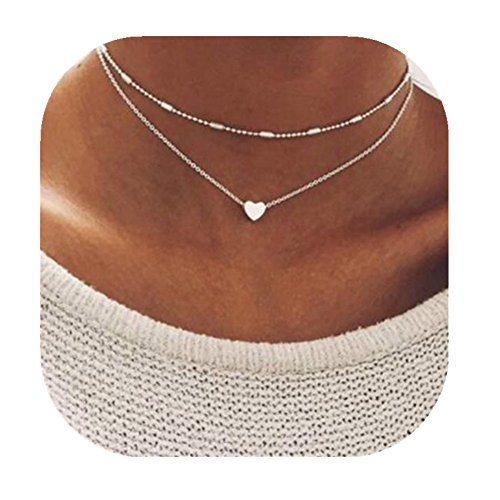 Double Necklace Layered (MaoxL Women Exquisite Double Layered Beads Chain Heart Pendant Choker Necklace (Silver))