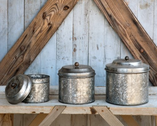 Benzara Metal Lidded Ball Knob, Three, Gray Antique Style Galvanized Tin Canister Set by Park Hill (Tin Kitchen Canisters)
