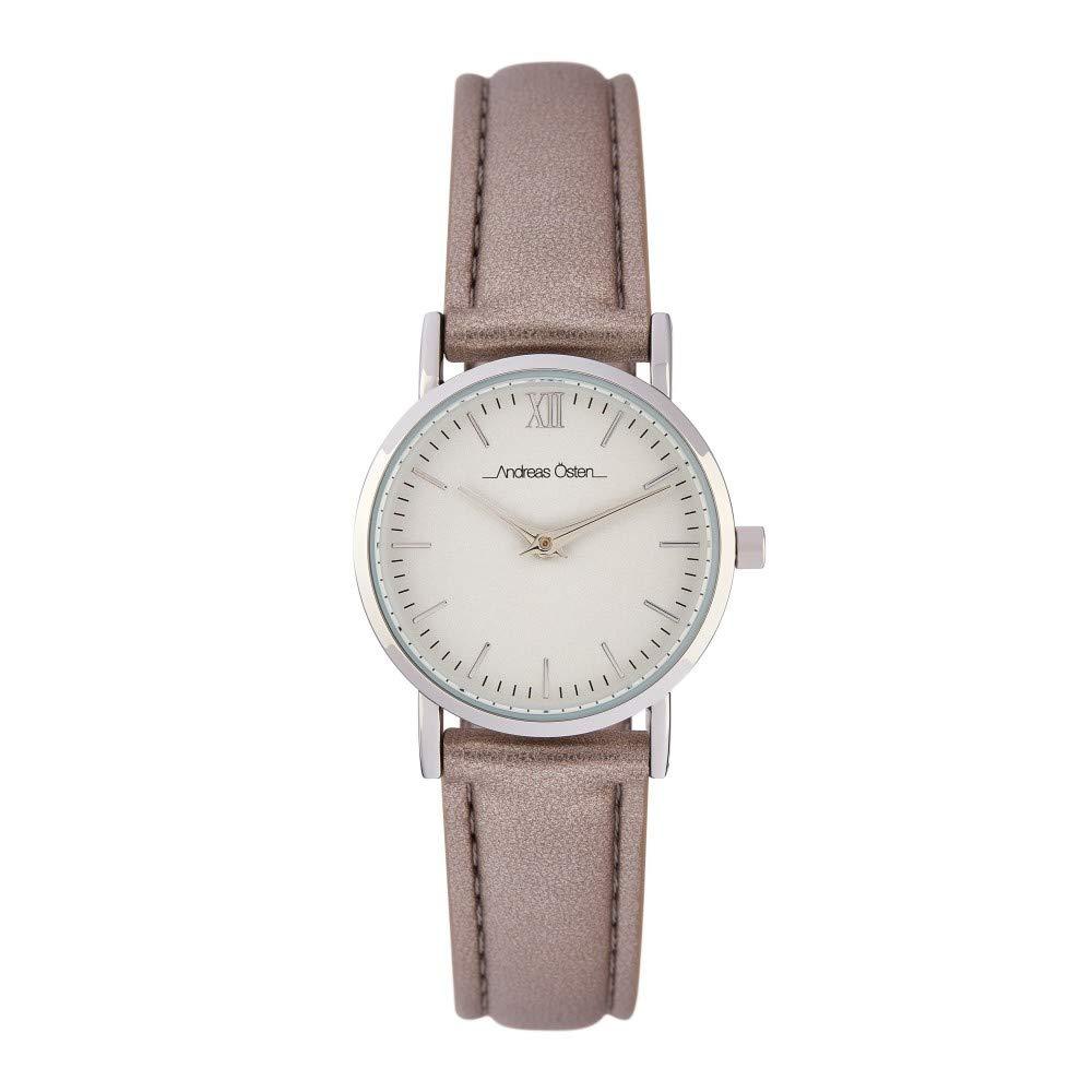 Montre Femme Andreas Osten à Quartz Cadran Blanc 26mm Et Bracelet Argenté En PU AOS18006