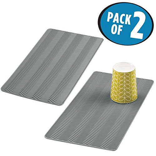 mDesign Mini Silicone Dish Drying Mat and Protector for Kitchen Countertops, Sinks: Chevron Design, Heat Resistant, Dishwasher Safe, BPA Free - Pack of 2, Small, Gray by mDesign