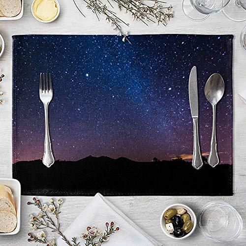 memorytime Night Starry Sky Linen Placemat Kitchen Dining Table Mat Bowl Pad Coaster Decor Kitchen Dining Supplies - 9# by memorytime (Image #5)