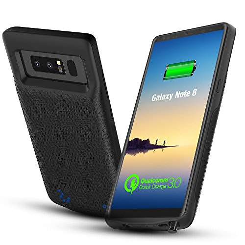 CASESSARY Quick Charger 3.0 Galaxy Note 8 Battery Case, 4900mAh Rechargeable Extended Protective Portable Charger, External Battery Case w. QC 3.0 Charging Compatible w. Samsung Galaxy Note 8 (Black)