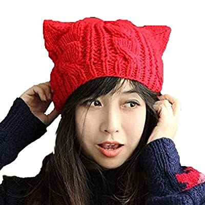 Fashion Women Girl Warm Winter Fall Wool Crochet Baggy Beret Beanie Hat Caps Cute Devil Horn Cat Ear Shape Knitted Hats Elastic Outdoor Ski Beanie Cap (Red)