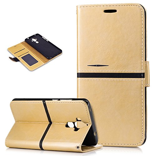 Huawei Mate 9 Case,Huawei Mate 9 Cover,ikasus Premium PU Leather Fold Wallet Pouch Case Wallet Flip Cover Bookstyle Magnetic Card Slots & Stand Protective Case Cover for Huawei Mate 9,Gold ()