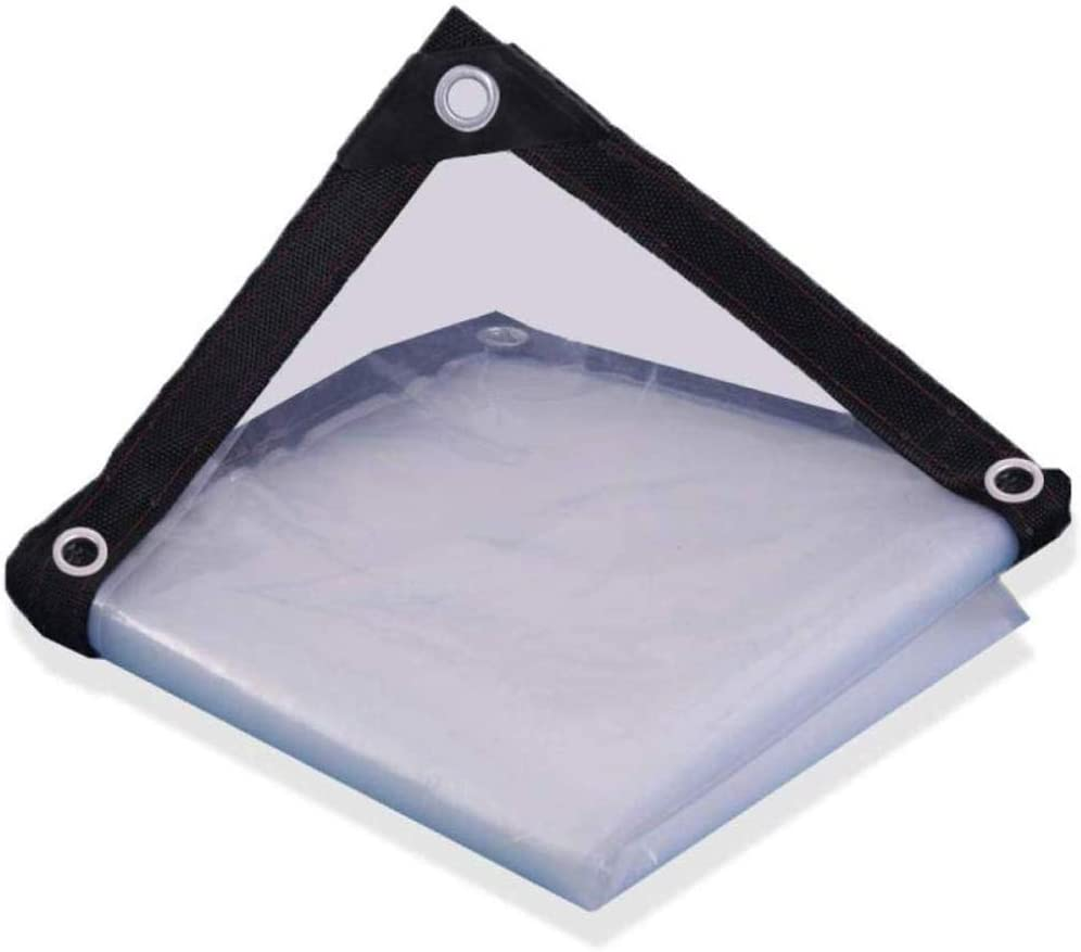 WTTO Transparente Impermeable Lona de Protección, Reversible Fácil de Plegar Lona Impermeable con Ojales Bordes Reforzados Esquinas Reforzadas Lona para Camión/Piscina,Clear_3x6ft/1x2m