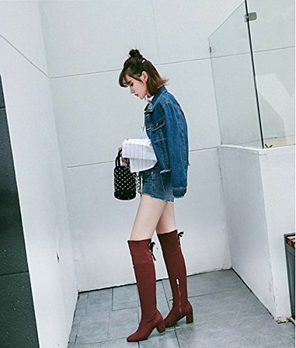 Mujer Arriba Moda Botas Tac Largas Minetom para Ata Muslo dxYZdw